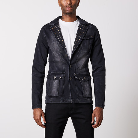 Studded Premium Cotton Denim Jacket // Black (S)