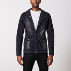 Studded Premium Cotton Denim Jacket // Black (3XL)