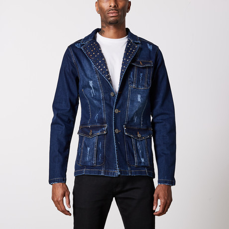 Studded Premium Cotton Denim Jacket // Navy (S)
