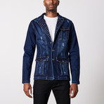 Studded Premium Cotton Denim Jacket // Navy (L)