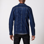 Studded Premium Cotton Denim Jacket // Navy (XL)