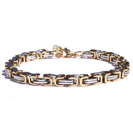 Adjustable Byzantine Stainless Steel Bracelet // Silver + Gold