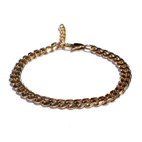 Adjustable 18k Gold Plated Cuban Stainless Steel Bracelet // Gold