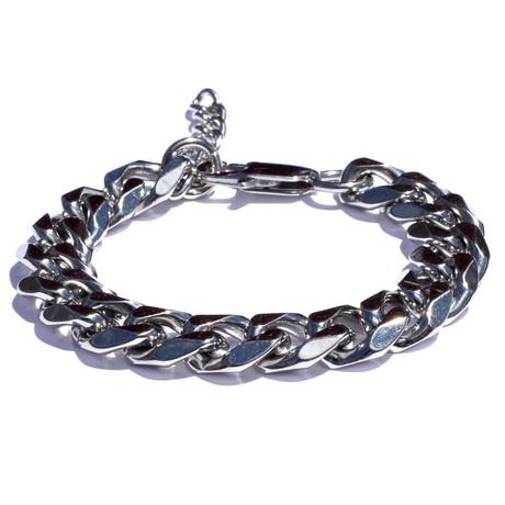 Adjustable Stainless Steel Beveled Cuban Bracelet // Silver