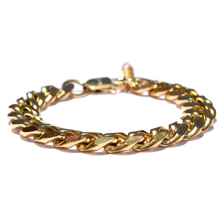 Adjustable 18K Gold Plated Stainless Steel Cuban Bracelet // Gold