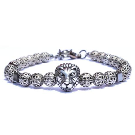 Metal Lion Bracelet // Silver