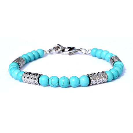 Adjustable Beaded bracelet + Grooved Tube Accents // Silver + Turquoise