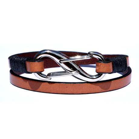 "7.75"" Handmade Infinity Leather Bracelet // Brown"