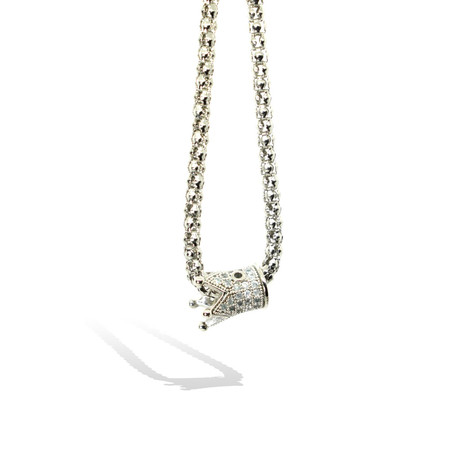 Crystal Crown Necklace // Silver