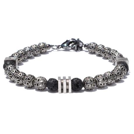 Striped Cube Bracelet // Silver