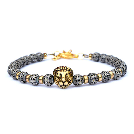 Adjustable Metal King Bracelet // Silver + Gold