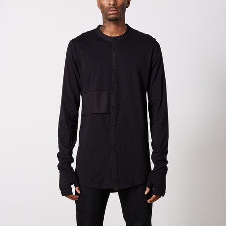 Layered Linen Grandad Collar Shirt // Black (S)