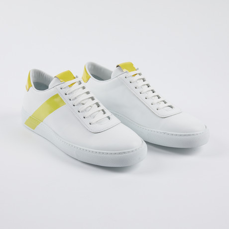 Leather Court Sneakers // White Yellow (Euro: 39)