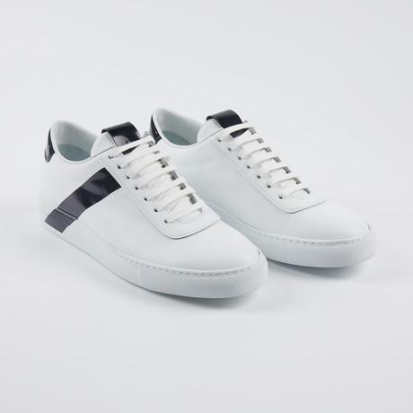 Leather Court Sneakers // White Navy (Euro: 39)
