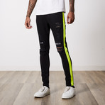 Neo Side Stripe Premium Denim // Black Yellow (29WX32L)