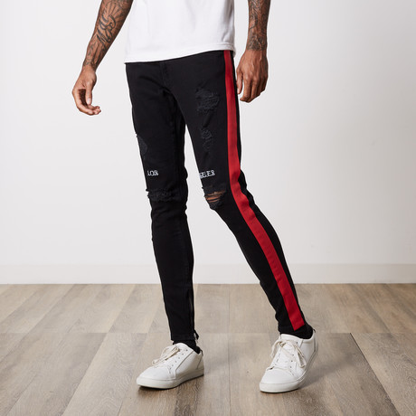 Neo Side Stripe Premium Denim // Black Red (29WX32L)