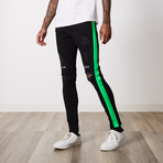 Neo Side Stripe Premium Denim // Black Green (38WX34L)