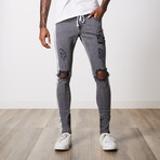 Rip And Repair Premium Cotton Denim // Dark Gray (32WX34L)