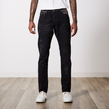 Studded Premium Cotton Denim // Black (29WX32L)