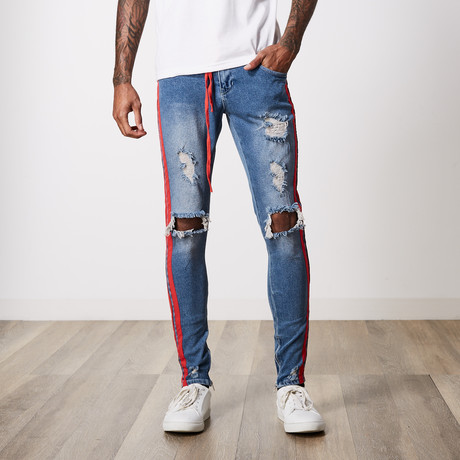 Ripped Side Stripe Premium Cotton Denim // Ice Blue (29WX32L)