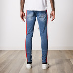 Ripped Side Stripe Premium Cotton Denim // Ice Blue (30WX32L)