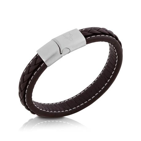 Fides Leather Bracelet // Silver + Brown (18cm)