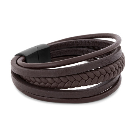 "Pax Leather Bracelet // Matte Black + Brown (7"")"