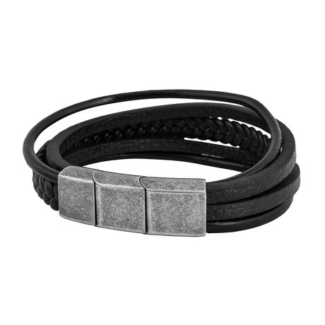 "Pax Leather Bracelet // Silver + Black (7"")"