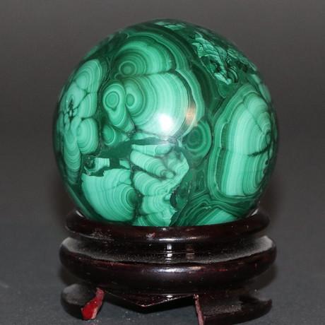"Polished Malachite Sphere // 1.32 lbs // 2.73"""