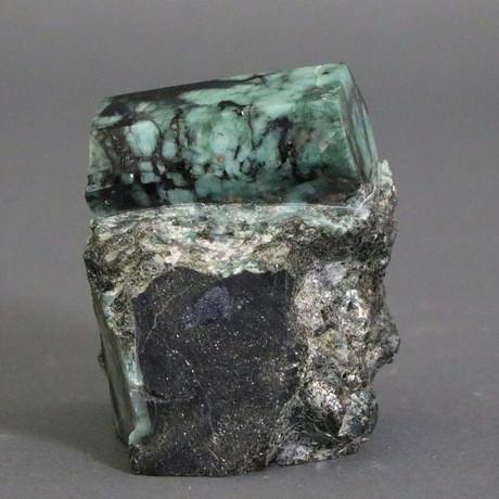 """Polished Emerald Crystal in Matrix // 1.74 lbs // 3.58"""""""