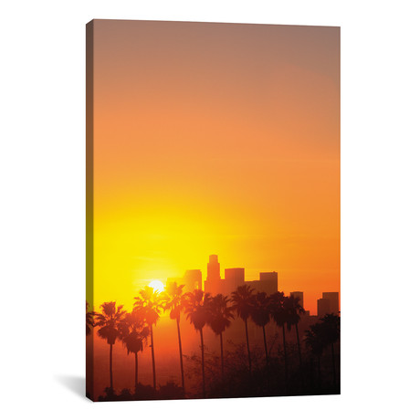 "Downtown Skyline During Sunset, Los Angeles, California, USA // Peter Bennett (12""W x 18""H x 0.75""D)"