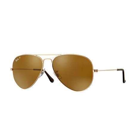 Men's Aviator Large Metal Sunglasses // Gold + Brown