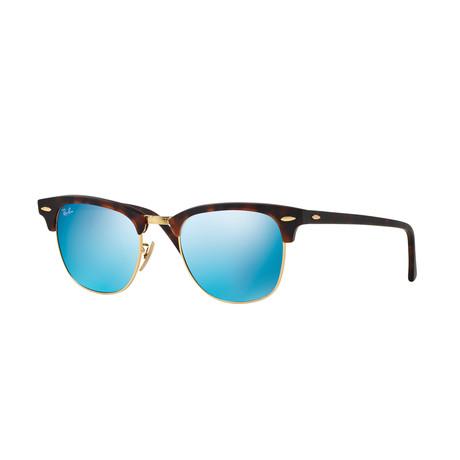 Unisex Clubmaster Sunglasses // Tortoise + Blue Mirror