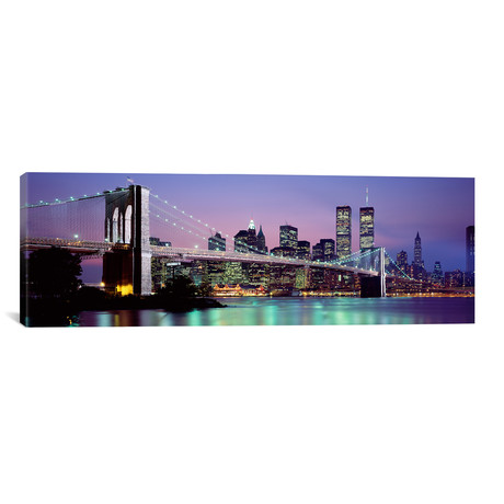 "An Illuminated Brooklyn Bridge With Lower Manhattan's Financial District Skyline In The Background, New York City, New York  // Panoramic Images (36""W x 12""H x 0.75""D)"