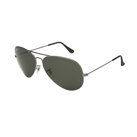 Aviator Large Metal Polarized Sunglasses // Gunmetal + Crystal Green