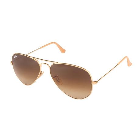 Unisex Aviator Large Metal Sunglasses // Gold + Brown Gradient