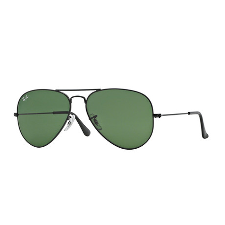 Aviator Large Metal Sunglasses // Black + Green