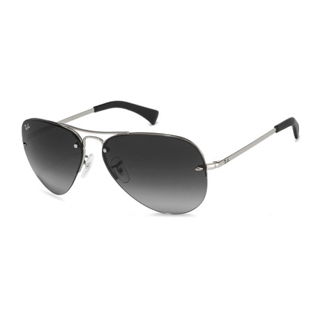 Semi Rimless Large Aviator Polarized Sunglasses // Silver