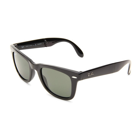 Unisex Folding Wayfarer Polarized Sunglasses // Black + Green