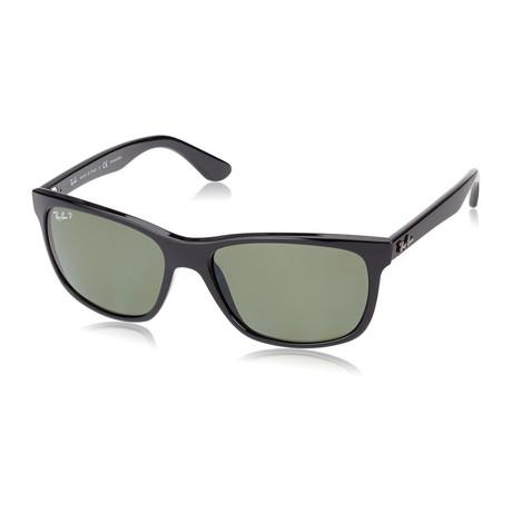 Unisex Polarized Square Sunglasses // Black + Green