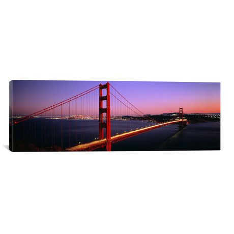 "Night Golden Gate Bridge San Francisco CA USA // Panoramic Images (36""W x 12""H x 0.75""D)"