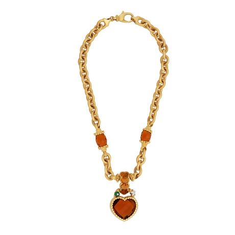 Estate 18k Yellow Gold Multi-Stone Necklace