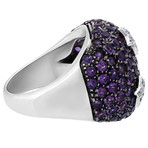 Vintage Garavelli 18k White Gold 3 Star Diamond + Amethyst Ring // Ring Size: 7.5