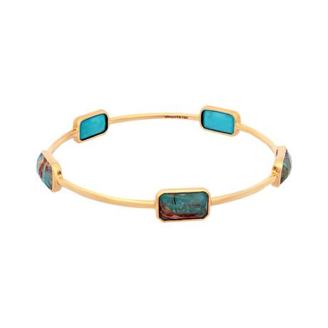 Vintage Ippolita 18k Yellow Gold Rock Candy Gelato Turquoise Bracelet