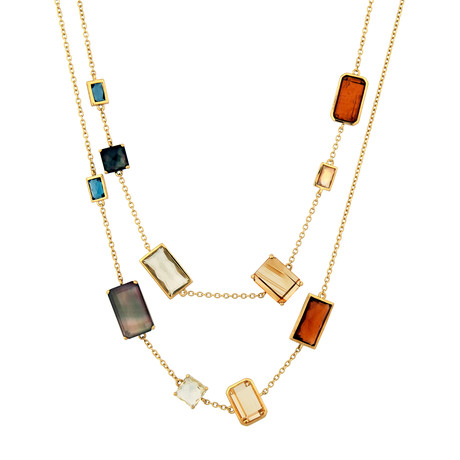 Vintage Ippolita Rock Candy Marrakesh Multi Gemstone 18k Yellow Gold Necklace