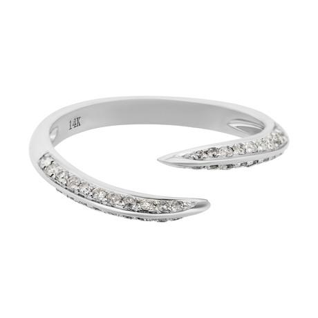 Estate 14k White Gold Diamond Crossover Ring // Ring Size: 7