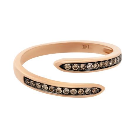 Estate 14k Rose Gold Diamond Crossover Ring // Ring Size: 7.25
