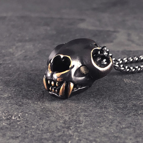 "Black Cougar Skull Necklace (Bronze // 20"" Gunmetal Chain)"