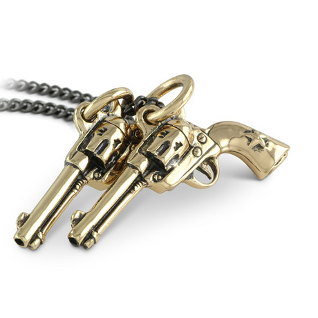"Guns Necklace (Bronze // 20"" Gunmetal Chain)"