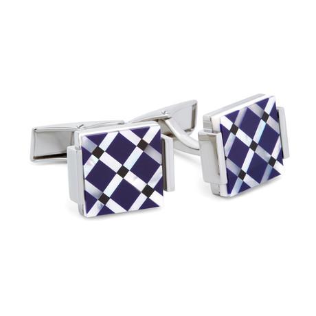Hart Schaffner Marx // Checkered Geometric Cufflinks // Navy